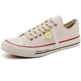 [フルタイムの靴と服] メンズシューズトレンディランニングシューズブルーパッチワークウォーキングジョギングシューズ 24.5cm ベージュ