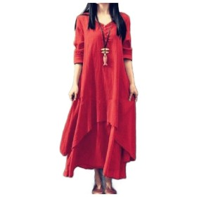 AngelSpace レディースロングスリーブバギースタイルプラスサイズコットンリネンドレスドレス Red L