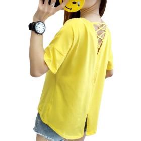 Gergeous半袖 tシャツ レディース ゆったり Tシャツ Vネック バッククロス ファッション トップス 韓国風 おしゃれ ティーシャツ 可愛い 無地 黄色 夏(Kイエロー)