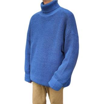 PIITE メンズ ハイネックセーター 秋冬 厚手 カジュアルセーター トップス ゆったりニット セーター プルオーバー ケーブルニット ショートセーター 純色 シンプル 原宿風ブルー5