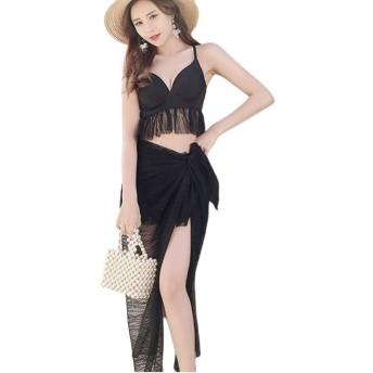 ビキニ [Marshel] 3点セット レディース 体型カバー セパレート型 羽織付 水着 XLサイズ ブラック