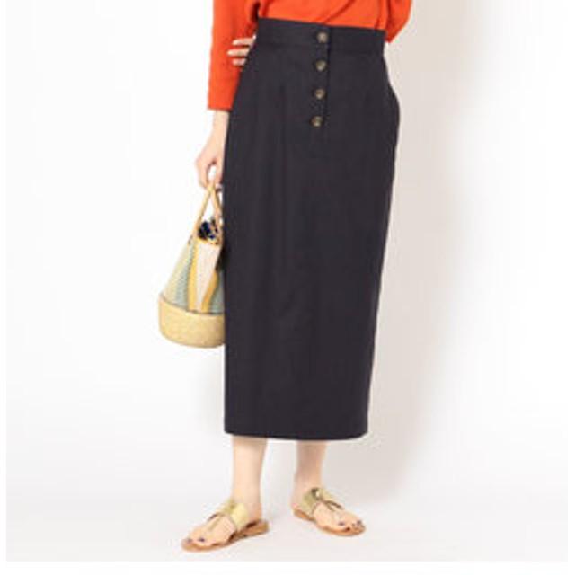【SHIPS:スカート】リネンポリエステルボタンスカート
