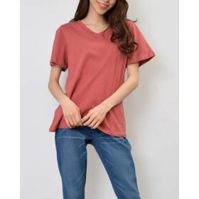 [ELCELE] 大きいサイズ レディース 半袖 Vネック Tシャツ インナー 無地 カットソー フィットネス 3L スモーキーレッド