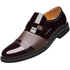 [LQQSTORE] レザーシューズ 靴男性高級換気尖ったつま先ビジネスカジュアルパテントレザーの結婚式男性シューズ メンズシューズ 靴