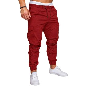 sayahe メンズレジャー弾性ウエストドローストリングプラスサイズ固体ポケットカーゴパンツ Red XL