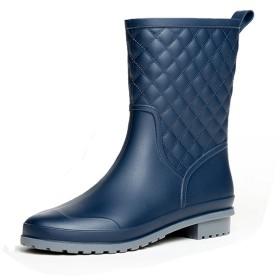 (モデルノ ラ テール) Moderno La Terre 細身 防水 レイン ブーツ ロング ブーツ キルティング 仕上げ 雨 靴 通勤 長靴 レディース おしゃれ ML-RBKL(ネイビー 23cm 36BL)