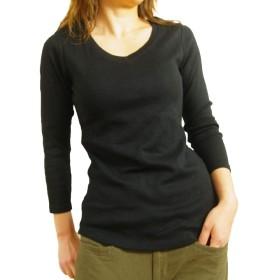 (ケージービー)K.G.B 8分袖 Tシャツ レディース Vネック カットソー 定番 無地 インナー コットン ブラック/L