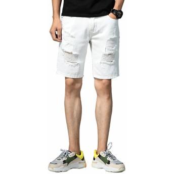 [eleitchtee] イニシャルジー ショートパンツ メンズ デニムパンツ ジーンズ ハーフパンツ 半ズボン 短パン 5分丈 ジーパン ダメージ 個性的 ボトムス 038-jysb-2zc5013(31 ホワイト)