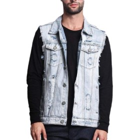 maweisong Men's Casual Lapel Denim Vest Jacket Vintage Slim Fit Sleeveless Ripped Jeans Vests 1 S