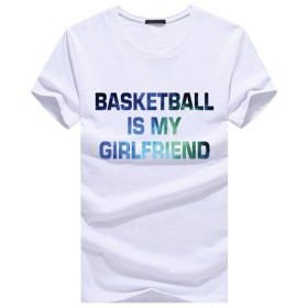 CHROME CRANE(クロム クレイン) メンズ 半袖 Tシャツ バスケット 英字 ロゴプリント グラデーション カットソー TSP026 (01.ホワイト,M)