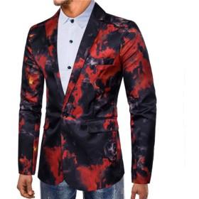 MANMASTER(マンマスター) メンズ 紳士服 テーラードジャケット 一つボタン ファッション 細身 豹柄 炎のプリント 春秋 パーティー結婚式新郎舞台ステージホスト演出衣装お洒落コートCH105 (M, タイプ2-レッド)
