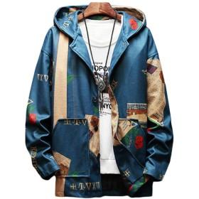[Bestmood]メンズ ジャケット 長袖 ゆったり アウター フード付き プリント ファッション ブルゾン 韓国風 ストリート系 ジャンパー おしゃれ 大きいサイズ 秋(Pブルー)