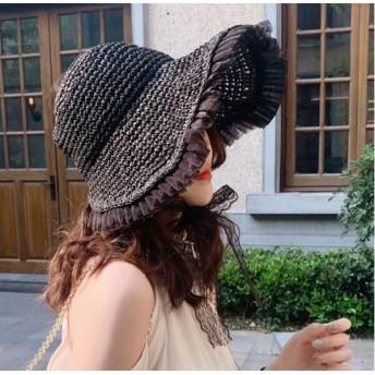 紫外線100%カット!麦わら帽子 レディースハット パナマ帽 クラシカル バックスタイル ツバ広麦わら帽子折りたたみ帽子 小顔効果抜群! 可愛い レース