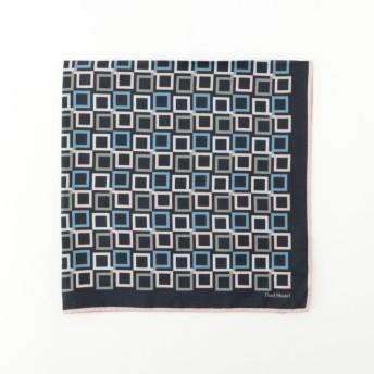 【ポール・スチュアート ウィメン(Paul Stuart WOMEN)】 Pモザイクスカーフ ネイビー