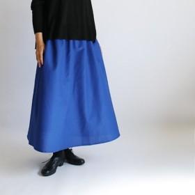●2019夏夏SALE● リネン麻コットン生地でつくる 「夏蒼」 フレア スカート ロングスカート ゆったり F47