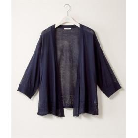 透かし編み切替7分袖トッパーカーディガン 透け素材【bi abbey】 (大きいサイズレディース)カーディガン,plus size