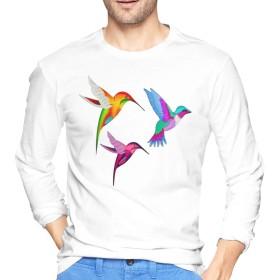 Colorful Flying Hummingbirds メンズ クルーネックスウェットシャツ 長袖 トップス プルオーバー レーナー 無地