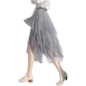 Jocolate(ジョコレート) レディース チュールスカート ロング丈 不規則裾 星柄 スパンコール キラキラ ロングスカート チュール ウエストゴム ふんわり 大人 春