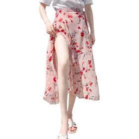 ロング 花柄 巻きスカート 春 aライン ふわふわ キルティングスカート