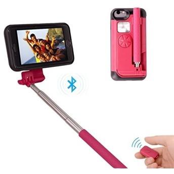 JP iphone ケース Iphone7plus/Iphone8 plus (5.5インチ)自撮り棒付き 自撮り一体型ケース 収納便利 自画撮り 設定不要 電池不要 セルカ棒 カバー 有線 手元にシ