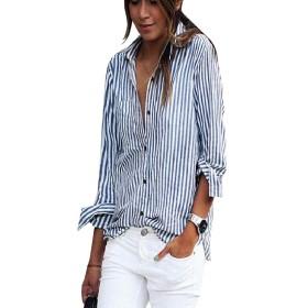 Candiyer 女性長袖ボタンドセクシーゆったりしたボーイフレンドシャツトップ AS1 M