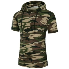 WE&energy メンズ巾着半袖フードムーブメントシックソフトジッパーTシャツトップ AS1 XL