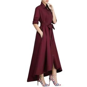 ドレス、ソリッドカラーボウファッションカジュアルドレス、ワインレッド、X-大