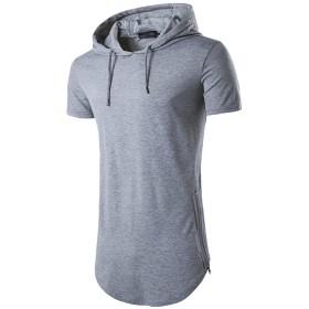 YACUN メンズショートスリーブシャツパーカーのフード付きカジュアルシャツトップス Grey XXL