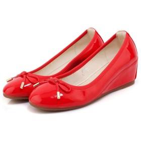 走れるパンプス ウェッジソール レッド/赤色 22.0cm プラットフォーム ラウンドトゥ オックスフォード 大きい サイズ 小さい プリンセス レディース レディース シューズ 靴 母の日 プレゼント 痛くない ヒール 22.0cm 小さいサイズ