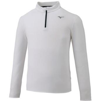 MIZUNO SHOP [ミズノ公式オンラインショップ] ハーフジップTシャツ(長袖)[メンズ] 01 ホワイト J2MA9510