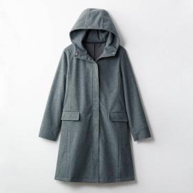 コート レディース ステンカラーコート  ベルメゾン 伸びる防風フリースフードコート 杢グレー