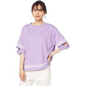 [ウィゴー] WEGO スリーブ スリット ロゴT シャツ FREE フリーサイズ パープル レディース