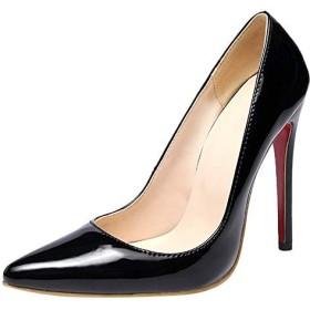 [Charm Foot] レディース ポインテッドトゥ エナメル ピンヒール パンプス[12.0cm ヒール] (27.0, ブラック)