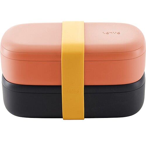 《LEKUE》可微波便當盒組(橘黑500ml)