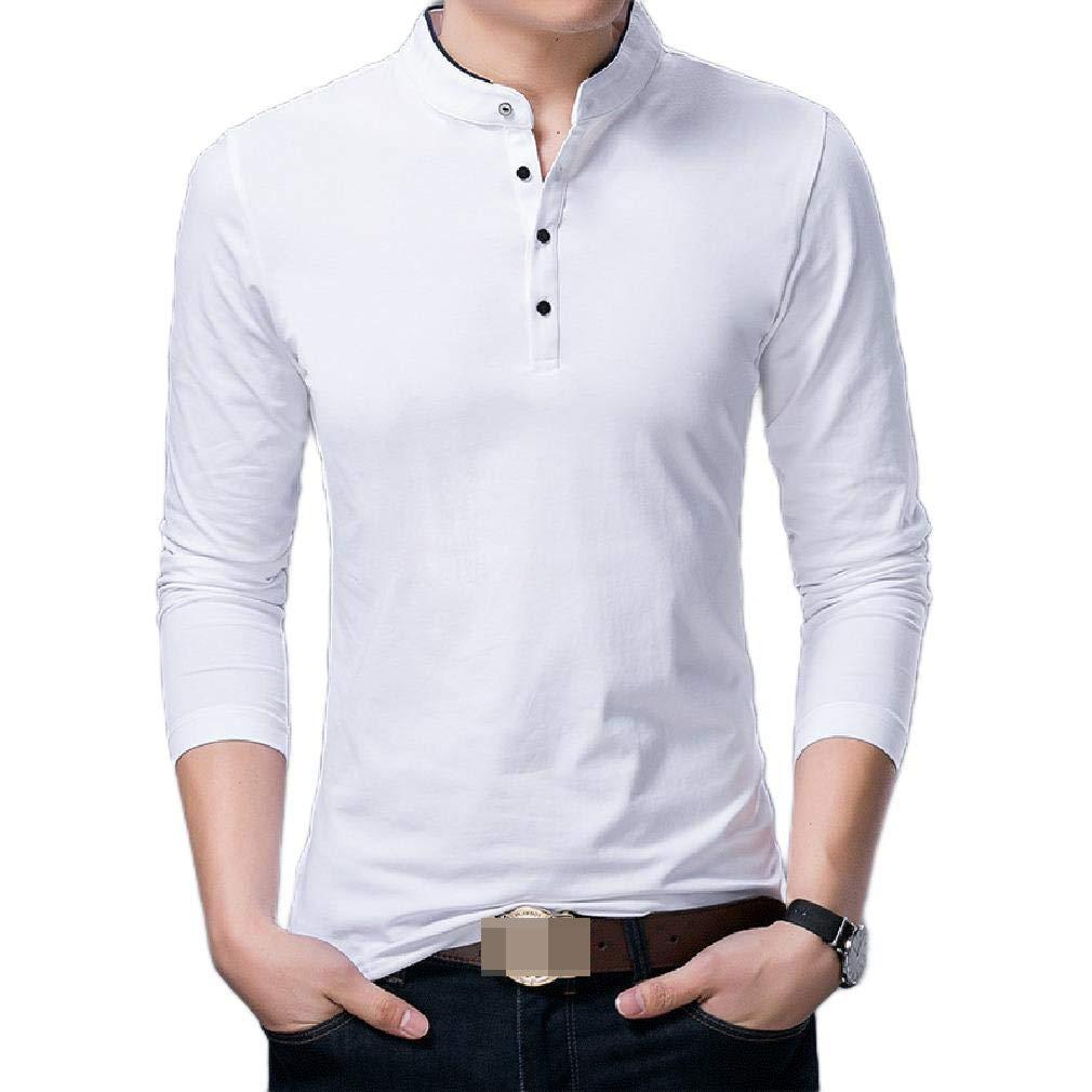 Wofupowga Men Summer Print Button Up Casual Plain Short Sleeve Shirts