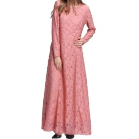 Tootess 女性のレースのアラブイスラム教徒のピュアカラーイスラムカフタンマキシドレス Pink S