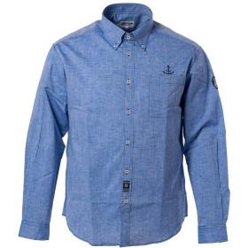 (シナコバ) SINA COVA ボタンダウンシャツ 長袖シャツ カジュアルシャツ 綿麻シャツ シャツ 綿×麻 シャンブレー ワンポイント イカリ柄 メンズ マリンウェア ゴルフウェア (ブルー) Mサイズ 19134020