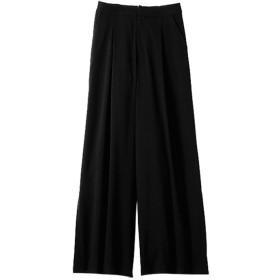 ベルーナ 裾スリットワイドパンツ ブラック L レディース