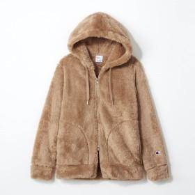 ジャケット レディース まるで毛布!フカフカあったかロゴワッペンボアパーカ 「キャメル」