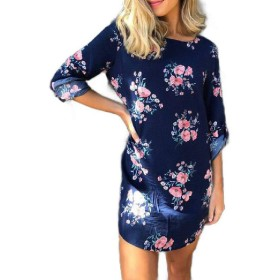 Beeatree 女性のVネックエレガント花プリントカジュアルショートTシャツドレス Royal Blue M