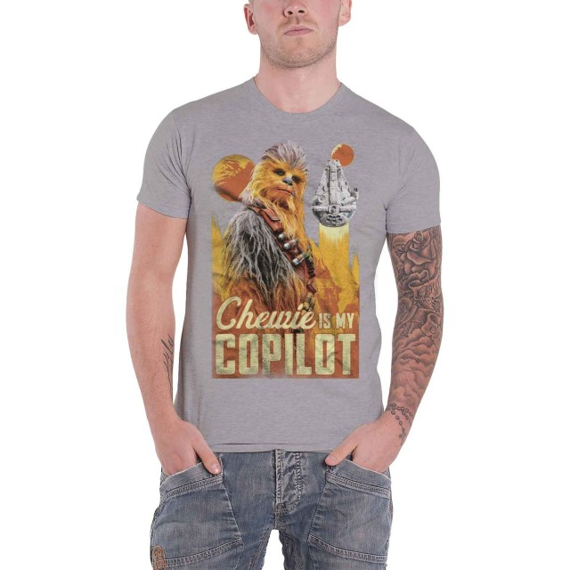Star Wars T Shirt Han Solo Movie Chewie Falcon Co Pilot 新しい 公式 メンズ グレー Size S