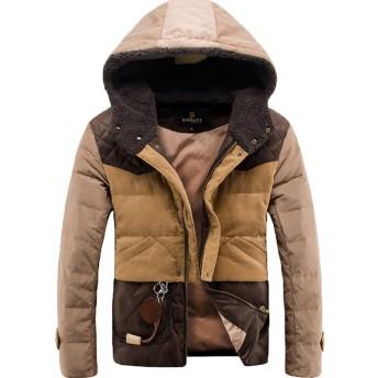 CAIXINGY冬のイングランドレジャー90カシミヤ暖かいウォームダウンジャケットのダウンジャケット男性ジャケットの短いセクション (M, キャメル)