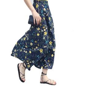 TAOHUA 夏 スカート 一面式 半身スカート 花柄 ストラップスカート シフォン スカート セクシー (イエロー花)