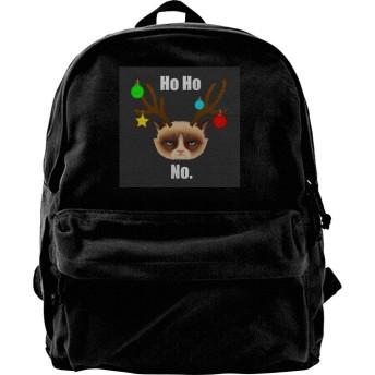 XQSMA Canvas Backpack Ho Ho No Christmas Cat White Rucksack Gym Hiking Laptop Shoulder Bag Daypack for Men Women
