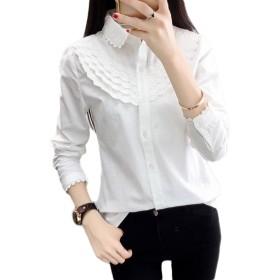 ZhongJue(ジュージェン)レディース シャツ 長袖 白シャツ フリル かわいい シャツ 薄手 春 ワイシャツ ブラウス(8白)