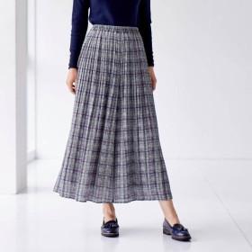パンツ レディース クロップドパンツ スカート見えプリントプリーツパンツ 「グレー系グレンチェック」