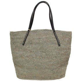 Sans Arcidet サンアルシデ BEBY BAG SMALL CVEG レザーハンドル カゴバッグ ラフィア バッグ (Pluie/Black)