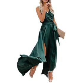 Nicellyer 女性Vネックボヘミア高スリットノースリーブソリッドカラーマキシドレス Green M