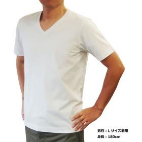 (イチボウ)ICHIBO スッキリシルエット WAITO VネックTシャツ 綿100% 日本製 (L, ホワイト)
