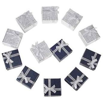 12pcs ギフトボックス リボン付ギフトボックス 母の日ギフトボックス アクセサリー紙箱 アクセサリーギフト箱 プレゼント用(12 個セット- 2色 指輪 & イヤリング ボックス)